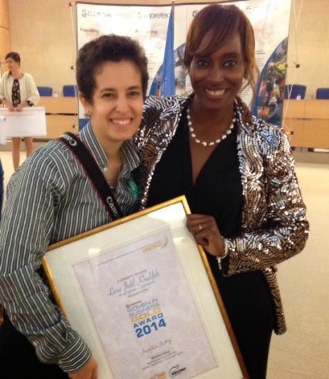 Bisila Bokko y la empresaria jordana ganadora del certamen